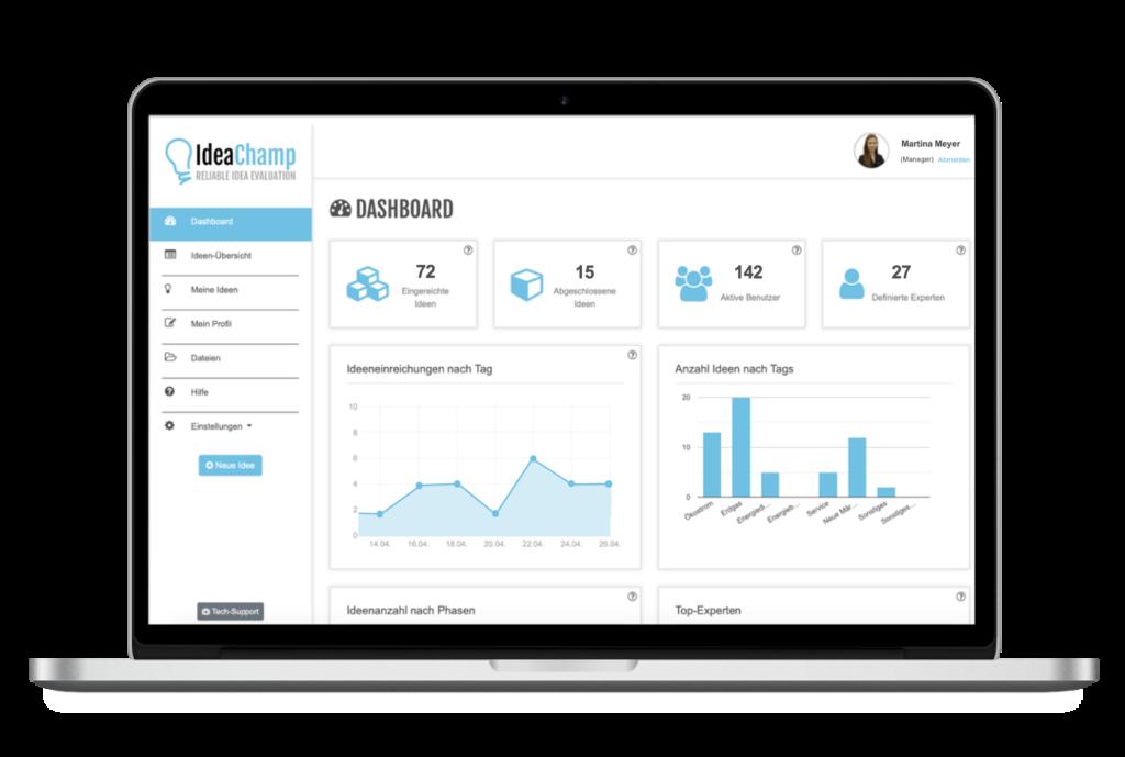 Bildschirm IdeaChamp Innovationssoftware für mehr Innovationen in Unternehmen