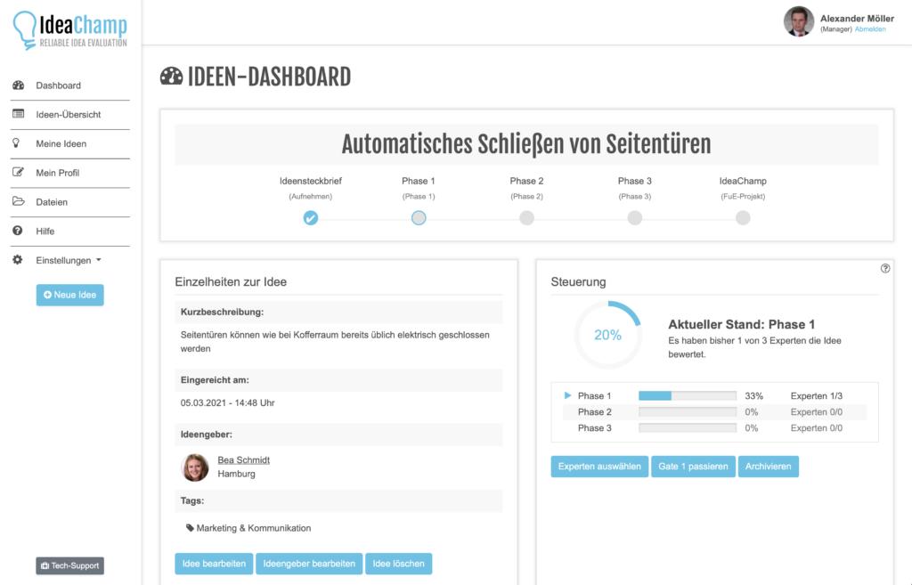Das Ideendashboard der Innovationssoftware IdeaChamp gibt alle relevanten Informationen und Kennzahlen zu einer Idee.