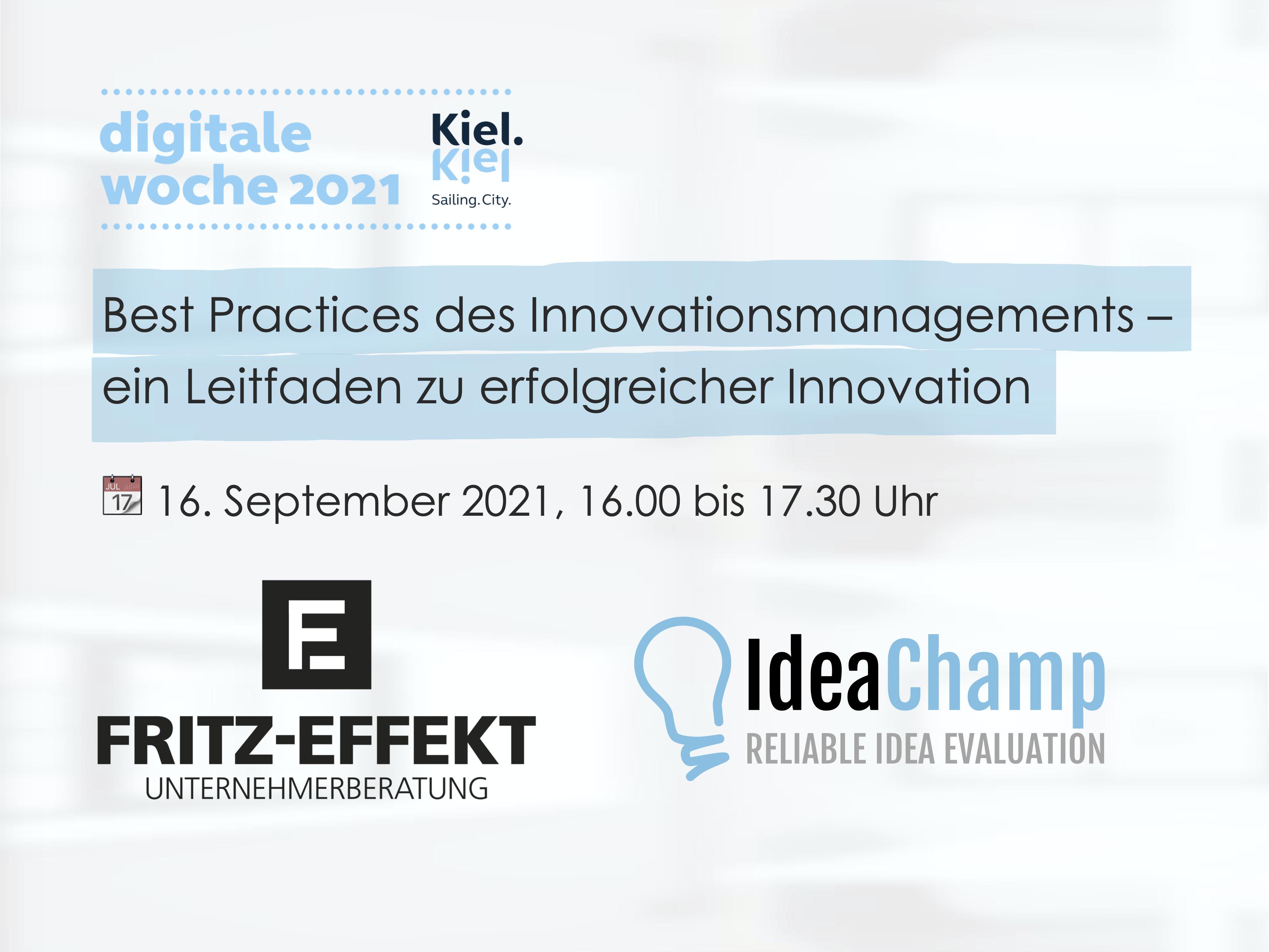 Einladung Digitale Woche Kiel 2021 - Best Practices des Innovationsmanagement - ein Leitfaden zu erfolgreicher Innovation