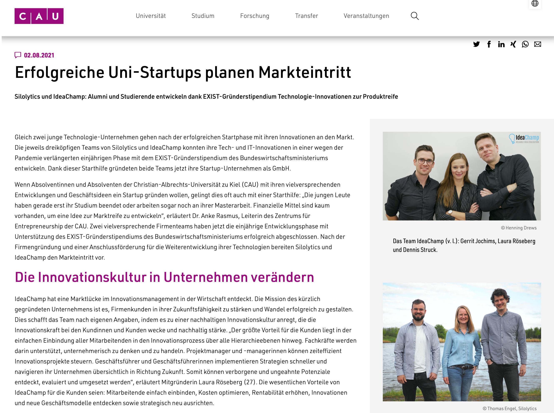 """Abschluss EXIST-Gründerstipendium: Pressemitteilung der CAU Kiel mit dem Titel """"Erfolgreiche Uni-Startups planen Markteintritt"""""""